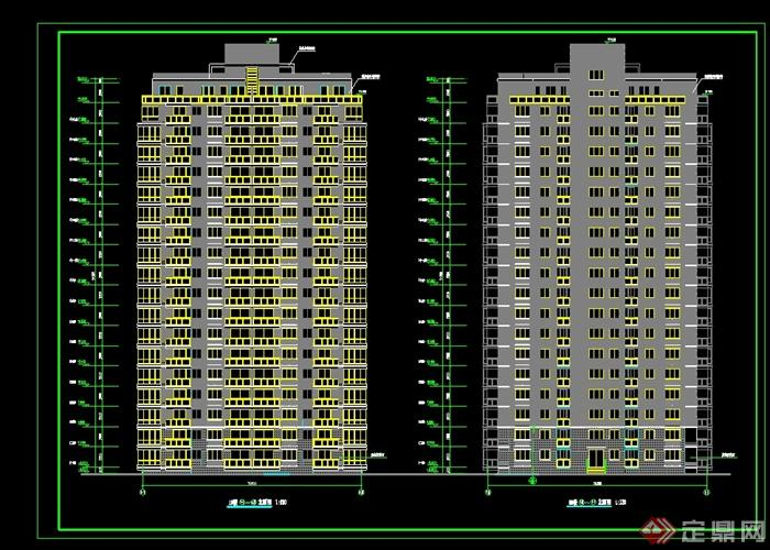 现代风格小区高层住宅楼建筑设计cad施工图[原创]