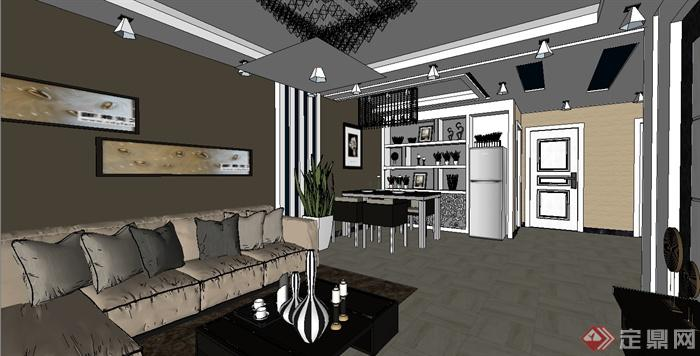 现代风格室内客厅餐厅空间设计su模型(1)