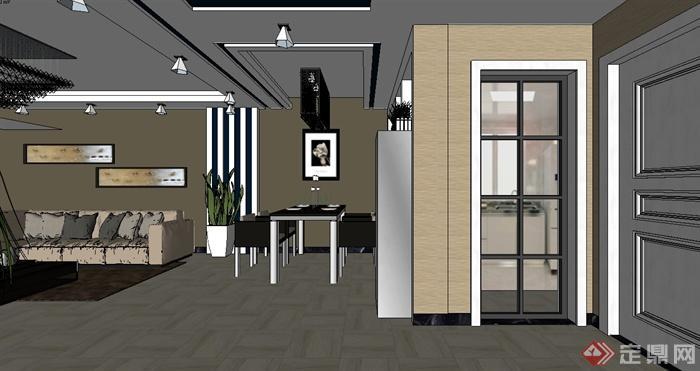 现代风格室内客厅餐厅空间设计su模型(2)