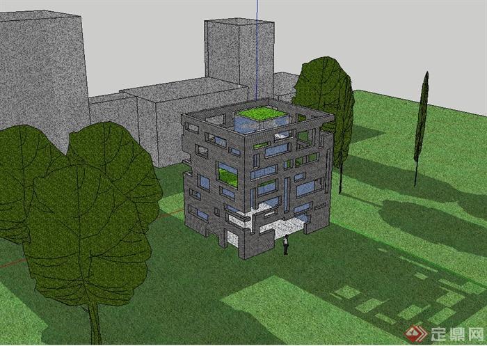 某现代风格简单的建筑框架设计su模型[原创]
