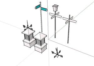多个不同的指路标志设计SU(草图大师)模型