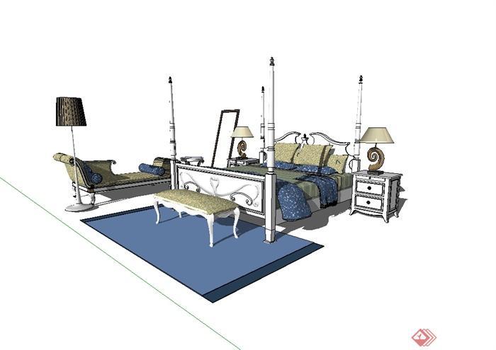 欧式风格主卧室床设计su模型[原创]