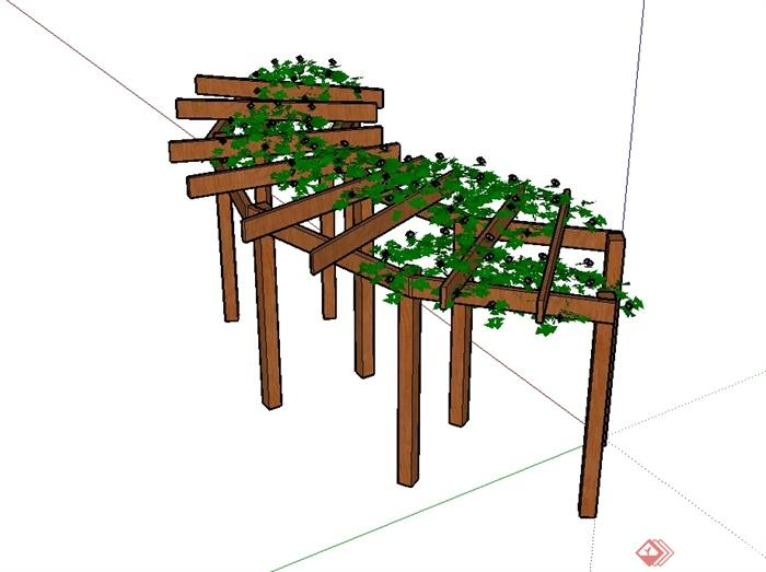 现代风格详细木质花架设计su模型[原创]