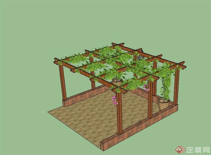 现代风格详细庭院花架详细设计su模型[原创]