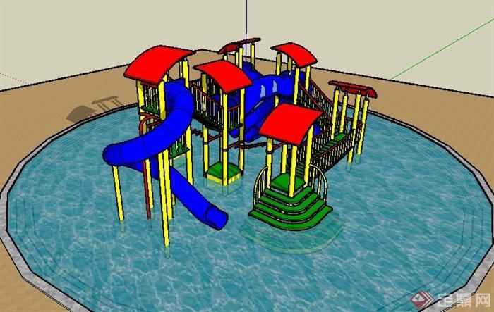 水上儿童游乐设施su模型(3)