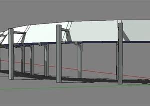 弧形走廊长廊设计Su模型