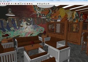 现代中式风格咖啡休闲吧室内装潢设计SU(草图大师)模型
