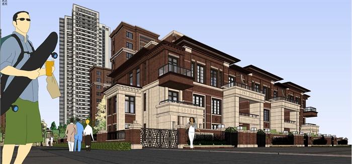 精品新古典高層加別墅建筑設計草圖大師模型,建筑外觀造型大方,樣式美觀,包括高層住宅樓及別墅住宅建筑,適當材質,供建筑設計參考使用。