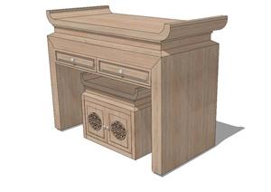古典中式风格详细完整的桌凳组合设计SU(草图大师)模型
