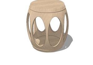 古典中式风格详细木凳设计SU(草图大师)模型