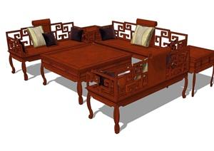 古典中式风格详细的桌椅设计SU(草图大师)模型