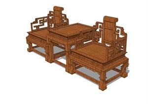 中式太师椅洽谈桌椅设计SU(草图大师)模型