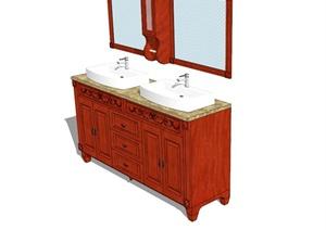 现代中式风格详细洗漱柜设计SU(草图大师)模型