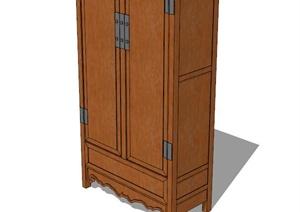 现代风格详细的木柜子设计SU(草图大师)模型