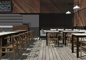 精品现代风格休闲餐饮空间设计SU(草图大师)模型