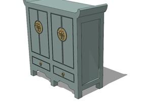 古典风格鞋柜储物柜SU(草图大师)模型