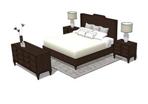 中式风格床、床头柜、边柜组合SU(草图大师)模型