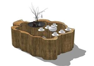 原木风茶几设计SU(草图大师)模型