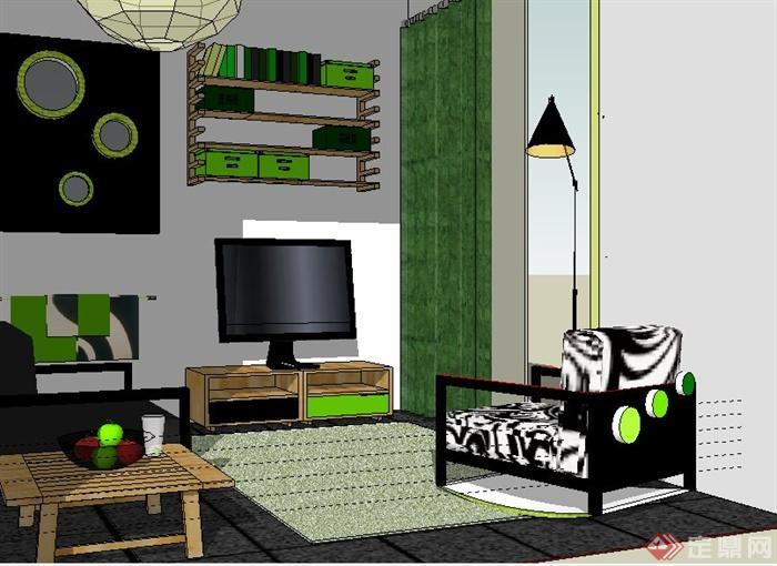 簡約家裝客廳室內裝修su模型(2)