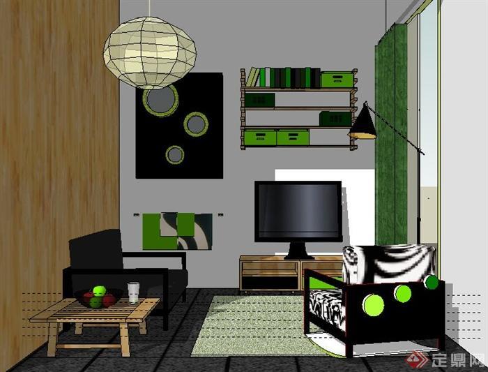 簡約家裝客廳室內裝修su模型(1)