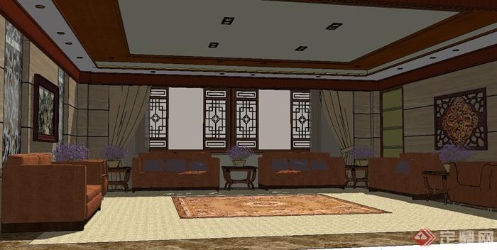 现代中式风格会议室室内设计su模型(1)