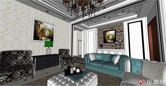欧式客厅详细室内设计su模型(4)