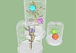 各式各样有关鸟笼主题景观小品SU模型