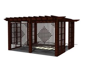 中式木质景观廊架素材SU(草图大师)模型