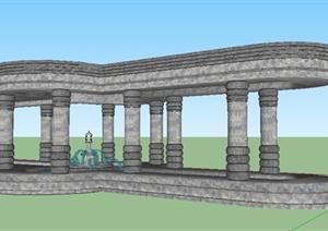 石头景观廊架设计Su模型