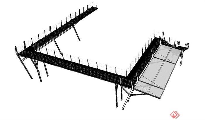 现代栈桥彩盒设计su版本[原创]芭比模型景观设计素材玩具图片