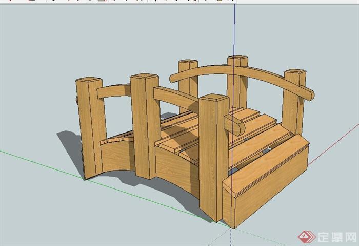 现代风格详细小木桥设计su模型[原创]图片