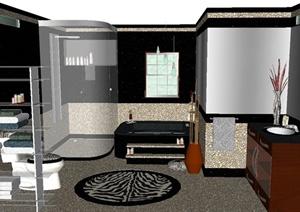 现代风格详细住宅空间卫浴空间设计SU(草图大师)模型