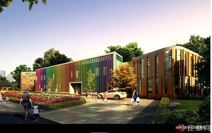某现代风格详细文化中心及幼儿园设计cad、pdf文本及效果图(2)