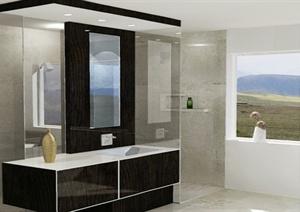 现代风格简单的卫生间设计SU(草图大师)模型