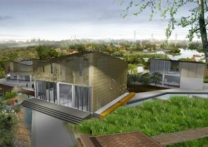 现代一个竹文化主题工作室建筑群毕业设计psd全套资料