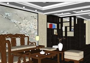 古典中式客餐厅装潢方案SU(草图大师)模型