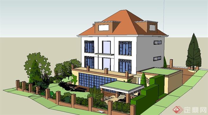 现代住宅别墅建筑及庭院su模型(1)