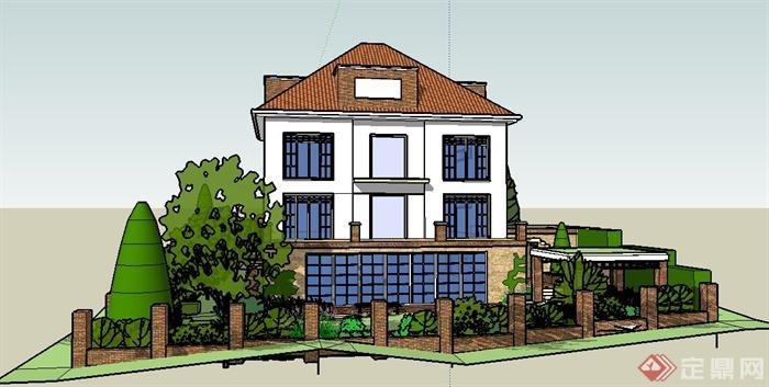 现代住宅别墅建筑及庭院su模型(2)