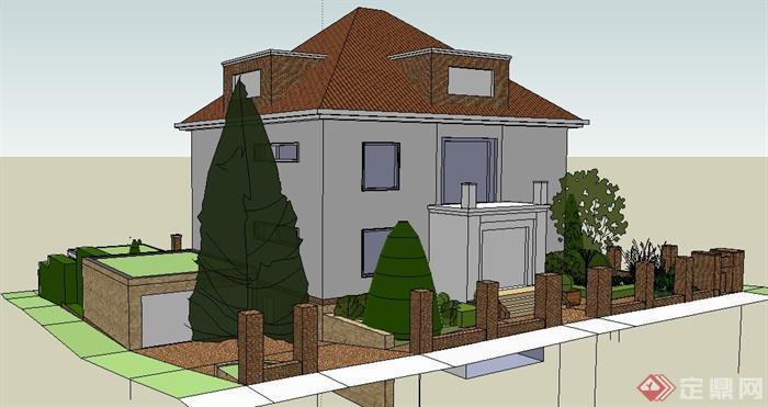 现代住宅别墅建筑及庭院su模型(3)