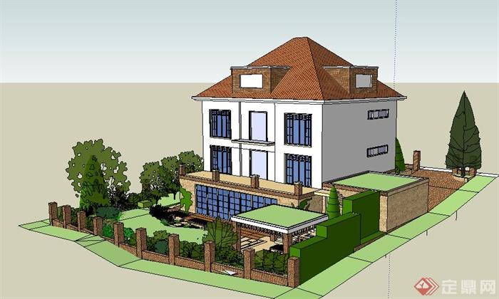 现代住宅别墅建筑及庭院su模型(4)