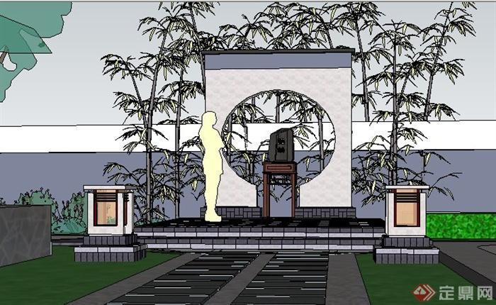 现代新中式庭院设计su模型(1)