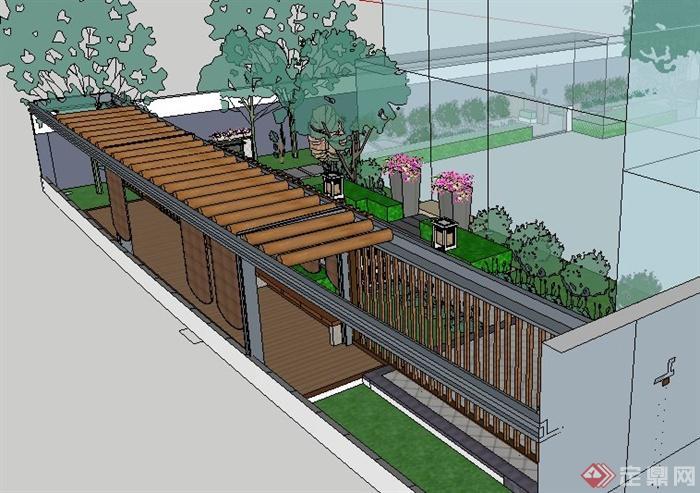 现代新中式庭院设计su模型(3)