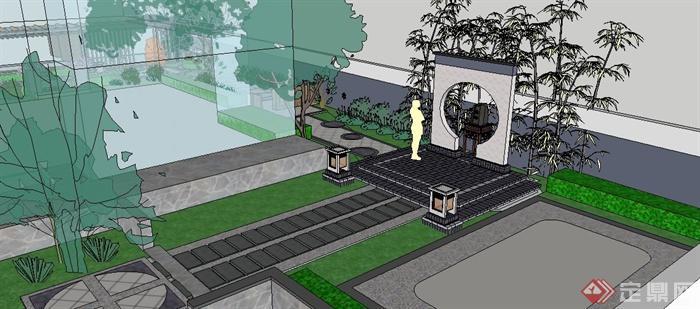 现代新中式庭院设计su模型(2)