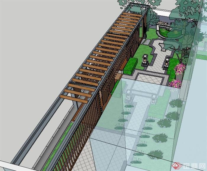 现代新中式庭院设计su模型(4)