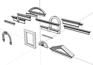 现代风格详细窗套设计SU(草图大师)模型