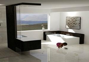 现代风格详细精致室内浴室空间设计SU(草图大师)模型