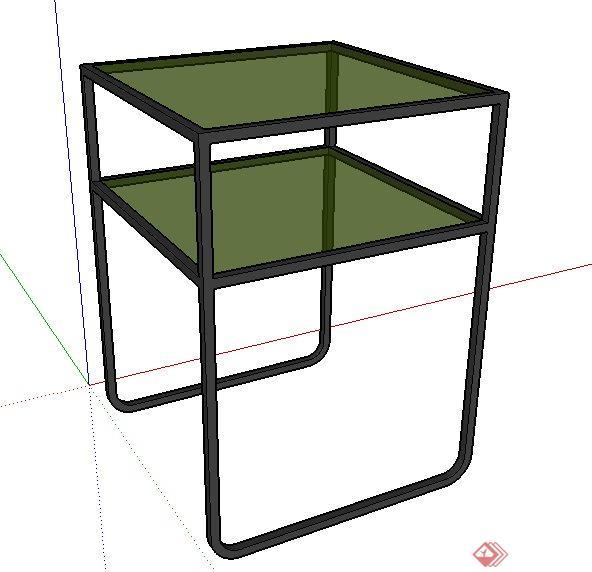 简约双层小桌设计su模型(1)