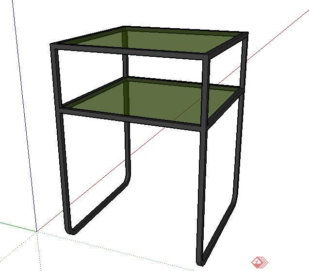 简约双层小桌设计su模型(2)