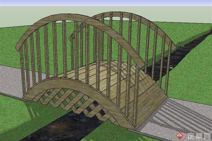 景观拱形木桥设计su模型(2)
