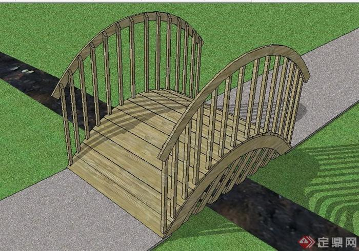 景观拱形木桥设计su模型(1)